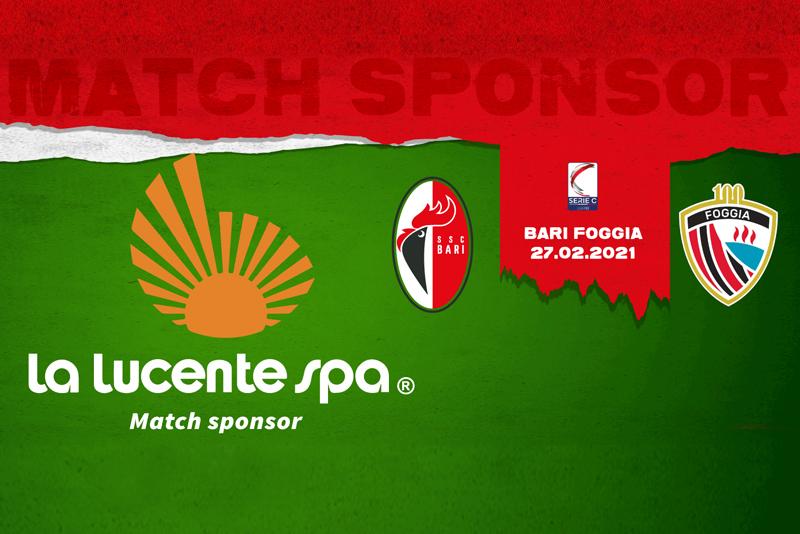 Bari-Foggia è targata La Lucente SpA: l'azienda barese è match sponsor del derby in programma al San Nicola il 27 febbraio.